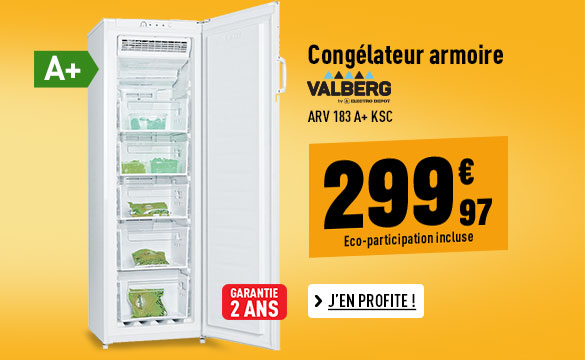 CONGÉLATEUR ARMOIRE VALBERG ARV 183 A+ KSC