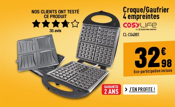 Croque/Gaufrier 4 empreintes COSYLIFE CL-CG4001